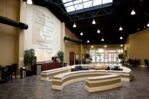 The atrium, facilities tour