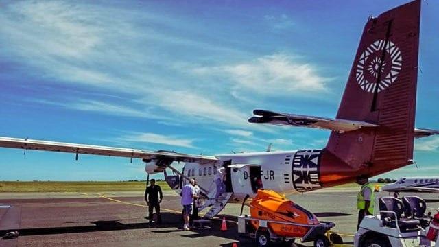 Taking a plane between islands in Fiji