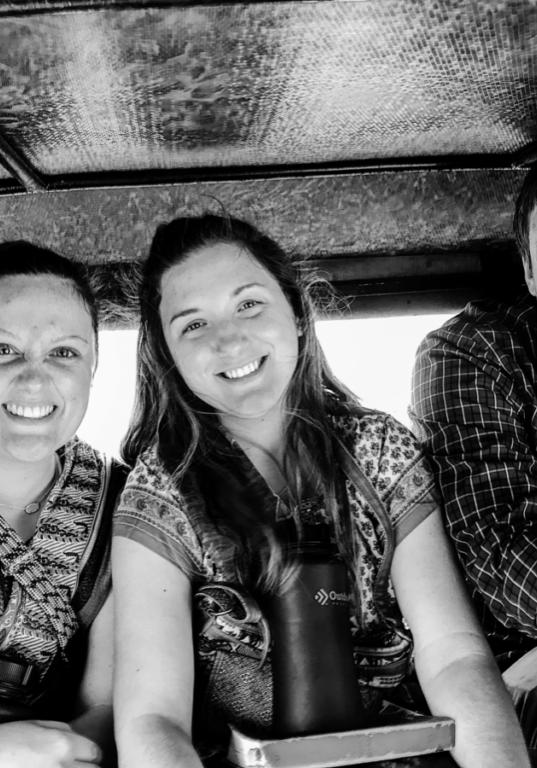 India b:w in rickshaw
